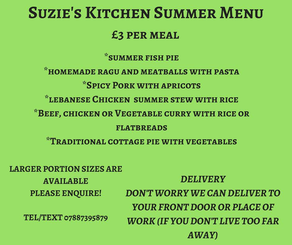 Suzie's Kitchen Summer Menu